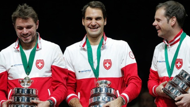 Federer on the Cup he won