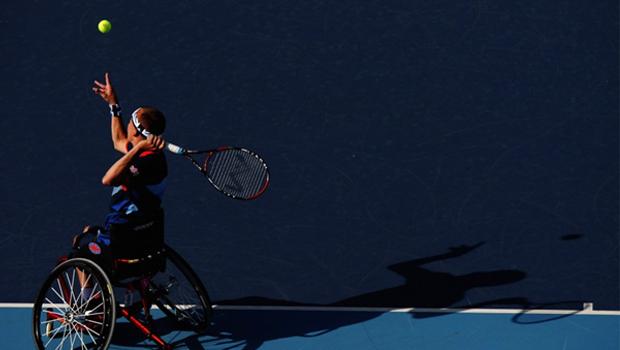 Wheelchair tennis action recently