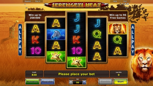 The Serengeti Heat slot machine is available on Novomatic casinos