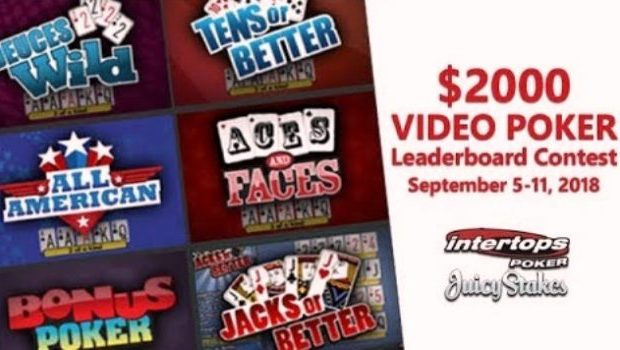 Video Poker Leaderboard Contest starting these days will pay $2000 in Prizes